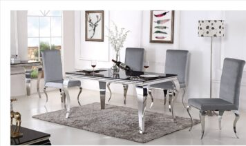 MODEL SJ802 DINING TABLE WITH FOUR S/STEEL LEGS AND BLACK TEMPERED PAINTED GLASS TOP -DIM 200 X 100 X H75CM-PACKED IN 3 BOXES-